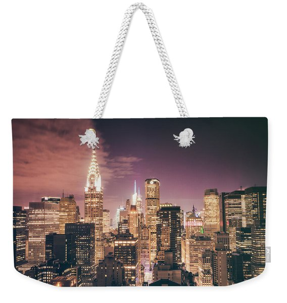 New York City Skyline - Night Weekender Tote Bag