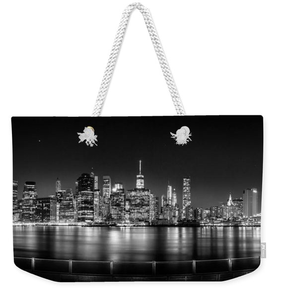 New York City Skyline Panorama At Night Bw Weekender Tote Bag
