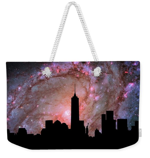 New York City Skyline Silhouette Galaxy Weekender Tote Bag