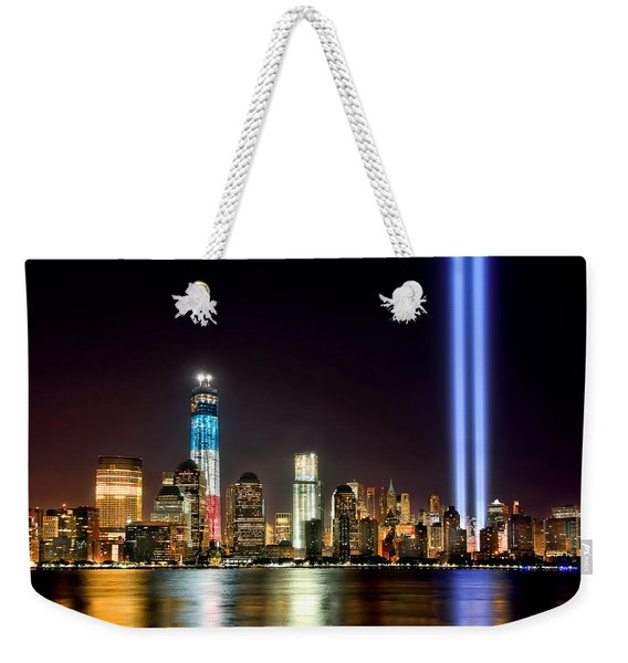 New York City Skyline Tribute In Lights And Lower Manhattan At Night Nyc Weekender Tote Bag