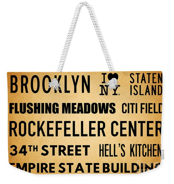 New York City Subway Sign Typography Art 13 Weekender Tote Bag
