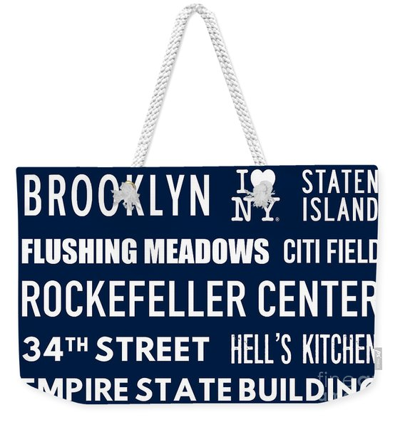 New York City Subway Sign Typography Art 18 Weekender Tote Bag