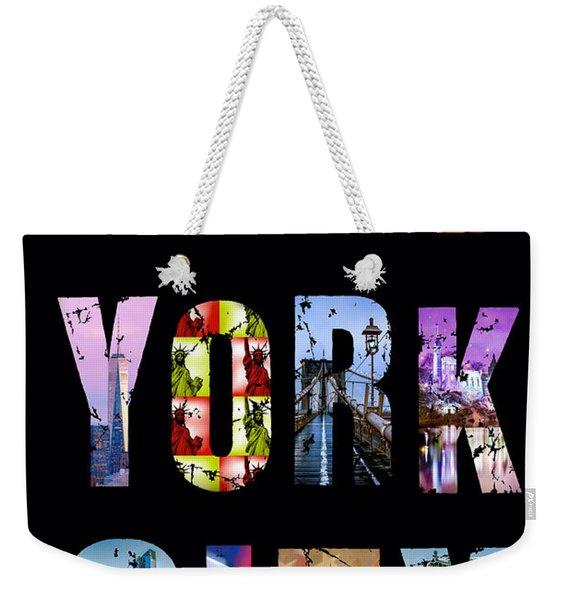 New York City Text On Black Weekender Tote Bag