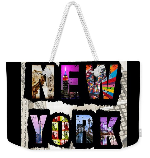 New York City Text Weekender Tote Bag