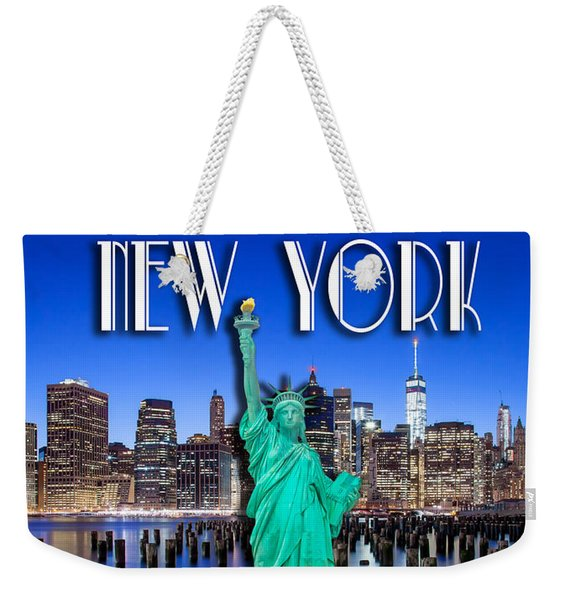 New York Classic Skyline With Statue Of Liberty Weekender Tote Bag