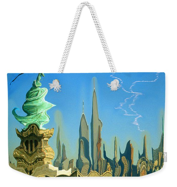 New York Fantasy Skyline - Modern Artwork Weekender Tote Bag