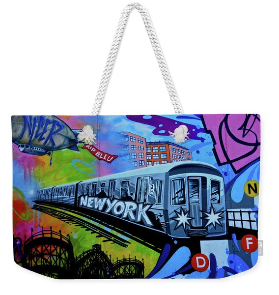 New York Train Weekender Tote Bag