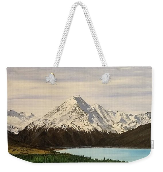 Weekender Tote Bag featuring the painting New Zealand Lake by Kevin Daly