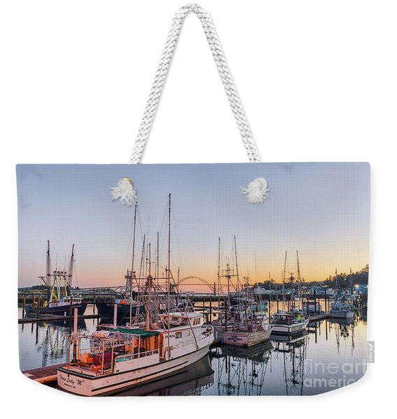 Newport Harbor At Dusk Weekender Tote Bag