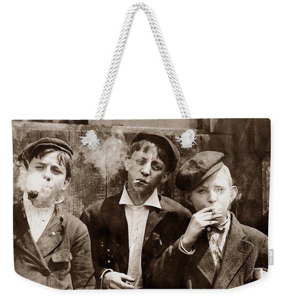 Newsboys Smoking - 1910 Child Labor Photo Weekender Tote Bag