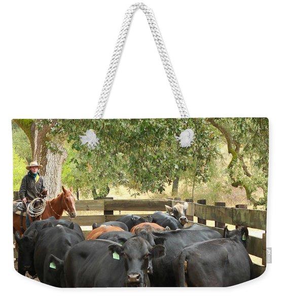 Nick Loading Cattle Weekender Tote Bag