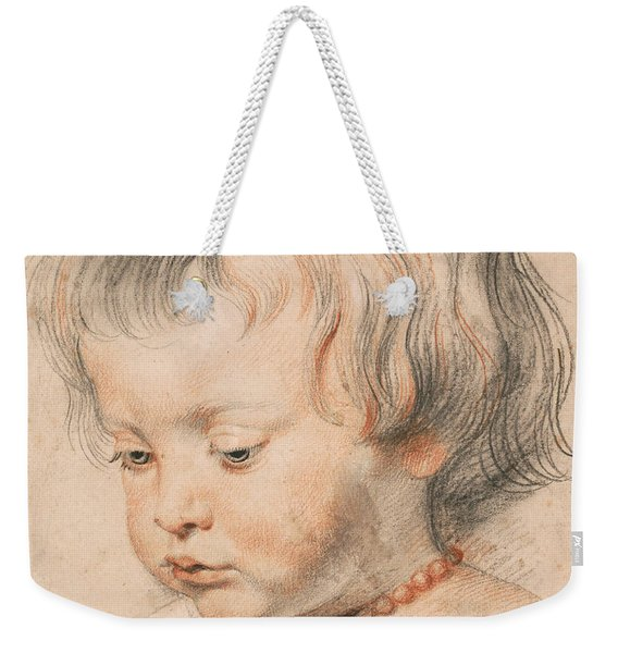 Nicolaas Rubens Wearing A Coral Neckless Weekender Tote Bag