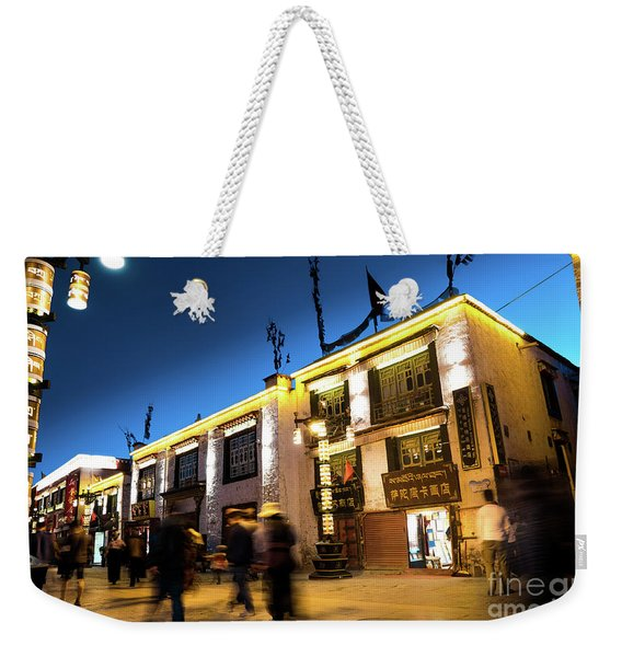 Night At Jokhang Temple Lhasa Kora Tibet Artmif.lv Weekender Tote Bag