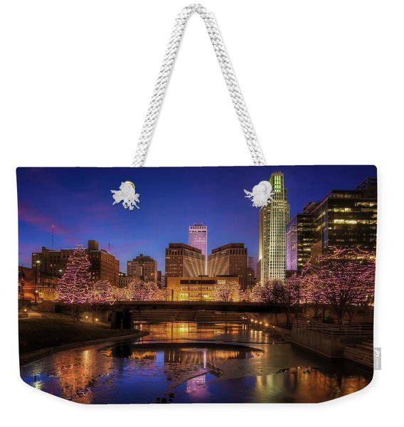 Night Cityscape - Omaha - Nebraska Weekender Tote Bag