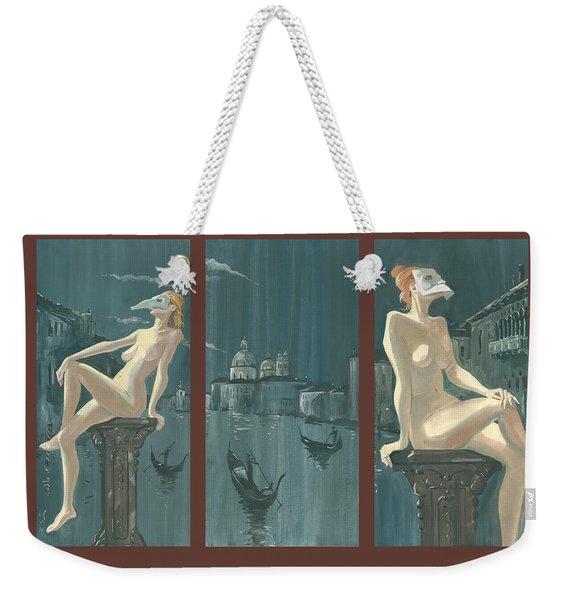 Night In Venice. Triptych Weekender Tote Bag