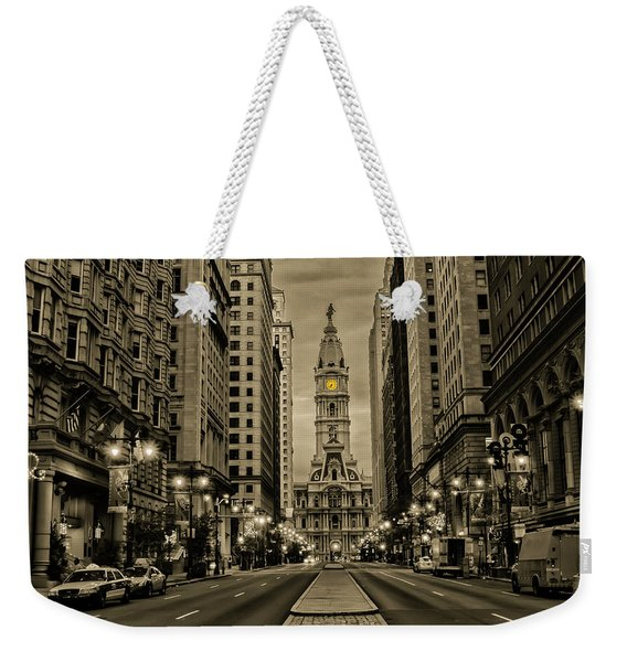 Night On Broad Street - Philadelphia In Sepia Weekender Tote Bag