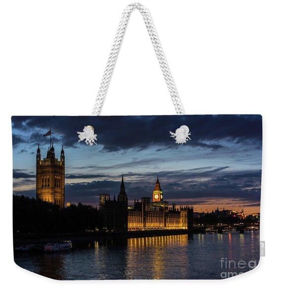Night Parliament And Big Ben Weekender Tote Bag