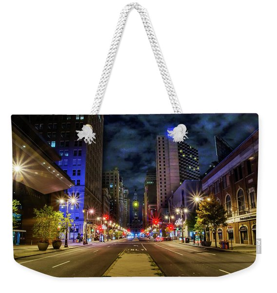 Night Shot Of Broad Street - Philadelphia Weekender Tote Bag