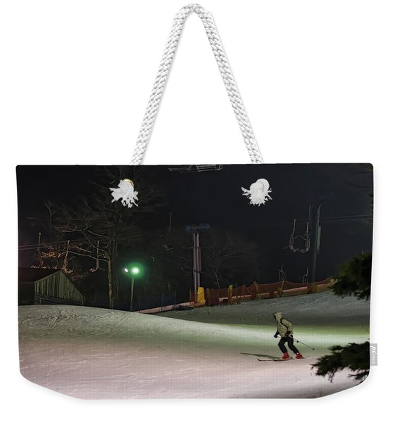 Night Skiing Weekender Tote Bag