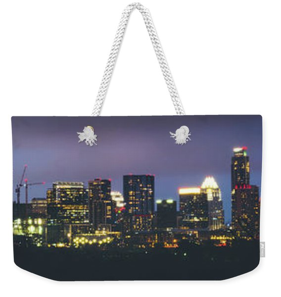Night View Of Downtown Skyline In Winter Weekender Tote Bag