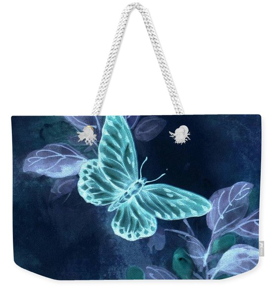 Weekender Tote Bag featuring the digital art Nightglow Butterfly by Writermore Arts