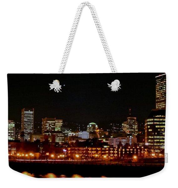 Nighttime In Pdx Weekender Tote Bag