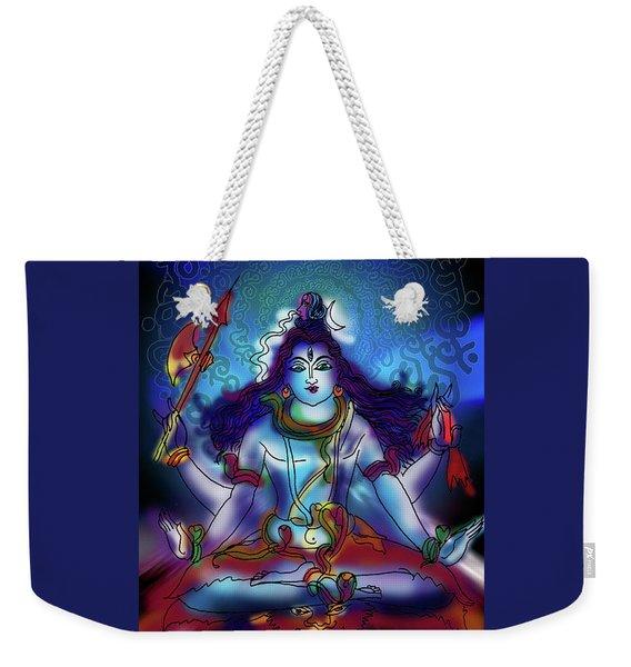 Weekender Tote Bag featuring the painting Nirvikalp Samadhi Kapali Shiva by Guruji Aruneshvar Paris Art Curator Katrin Suter