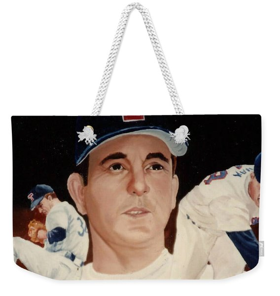 Weekender Tote Bag featuring the painting Nolan Ryan Medley by Rosario Piazza