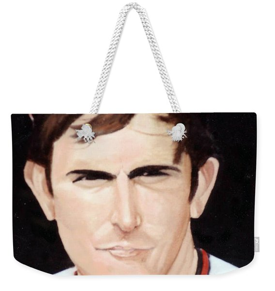 Weekender Tote Bag featuring the painting Nolan Ryan With The Angels by Rosario Piazza