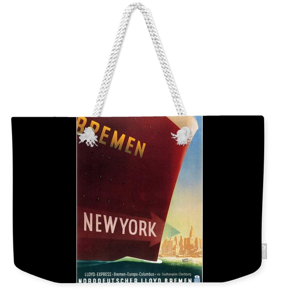 Norddeutscher Lloyd Bremen - New York - Retro Travel Poster - Vintage Poster Weekender Tote Bag
