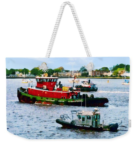 Norfolk Va - Police Boat And Two Tugboats Weekender Tote Bag
