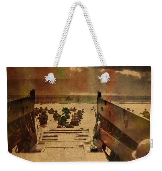 Normandy Beach On Dday World War Two Watercolor Tinted Historical Photograph On Worn Canvas Weekender Tote Bag
