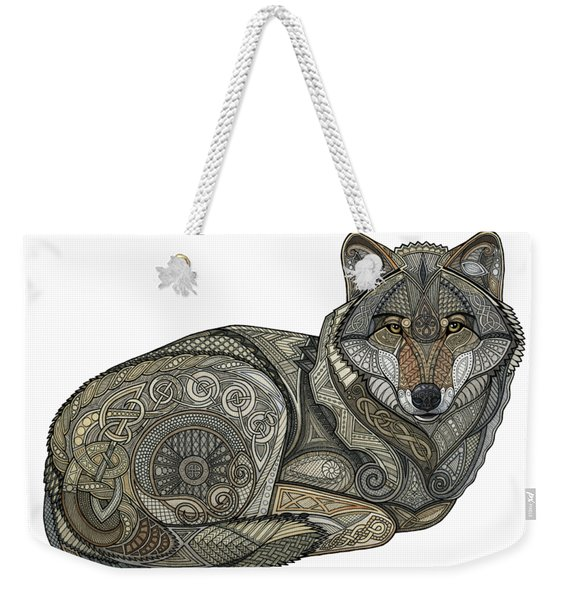 Weekender Tote Bag featuring the mixed media Norse Wolf by ZH Field