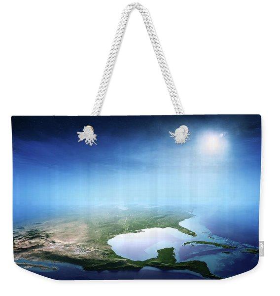 North America Sunrise Aerial View Weekender Tote Bag