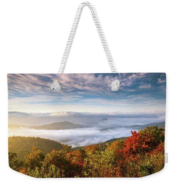North Carolina Autumn Sunrise Blue Ridge Parkway Fall Foliage Nc Mountains Weekender Tote Bag
