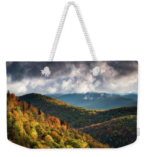North Carolina Mountains Asheville Nc Autumn Sunrise Weekender Tote Bag