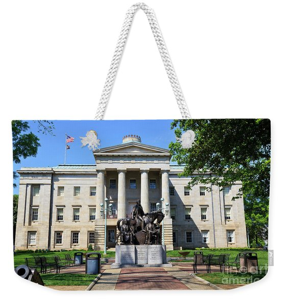 North Carolina State Capitol Building With Statue Weekender Tote Bag