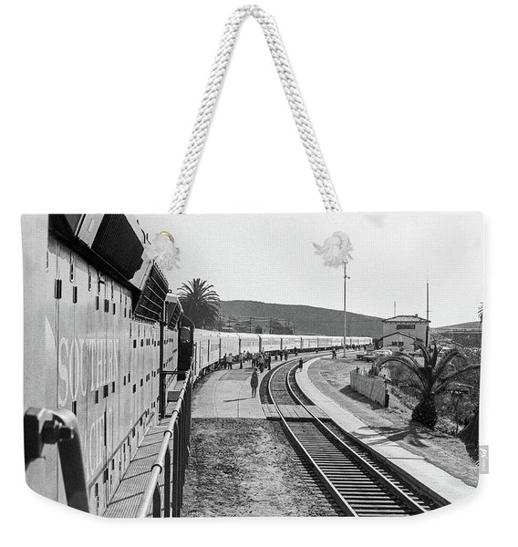 Weekender Tote Bag featuring the photograph Northbound Amtrak Coast Starlight, Early Days, San Luis Obispo, California by Frank DiMarco