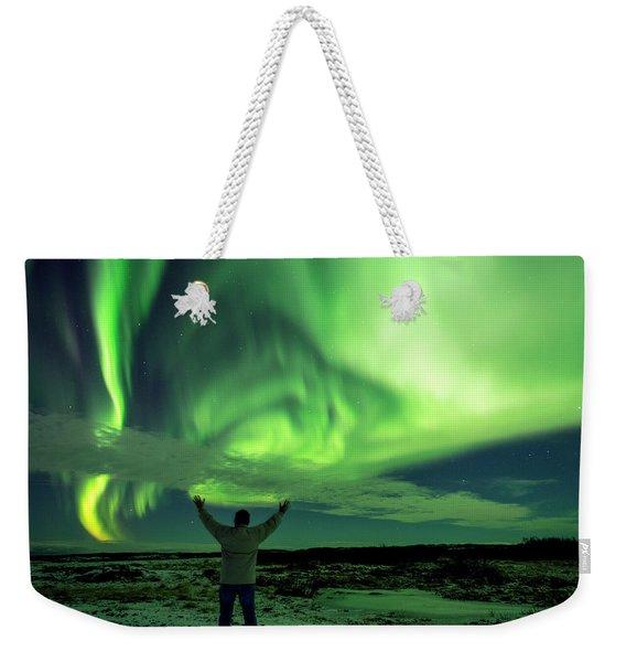 Northern Light In Western Iceland Weekender Tote Bag