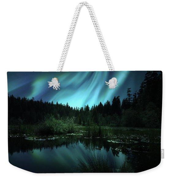 Northern Lights Over Lily Pond Weekender Tote Bag