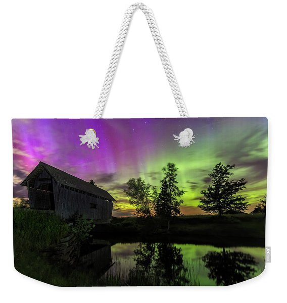 Northern Lights Reflection Weekender Tote Bag