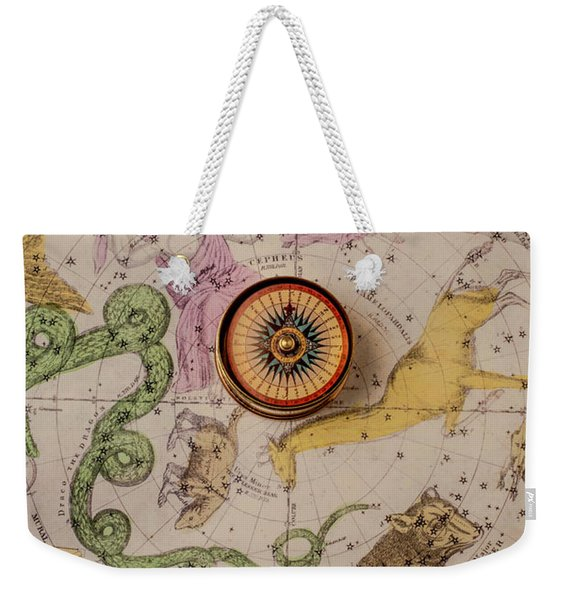 Northern Star Map And Compass Weekender Tote Bag