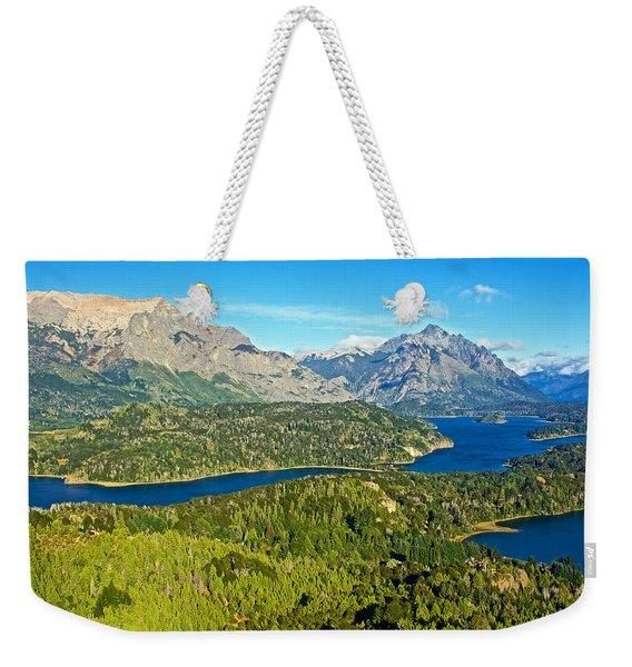 Northwest View From Campanario Hill Near Bariloche-argentina   Weekender Tote Bag