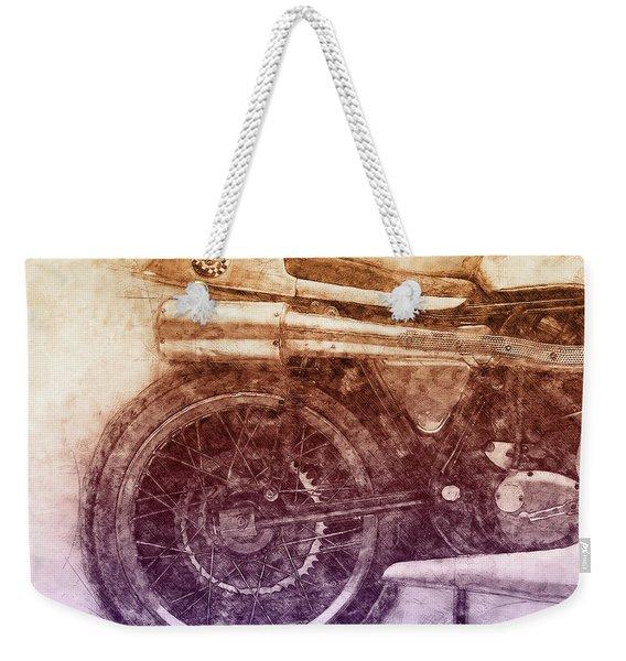 Norton Manx 2 - Norton Motorcycles - 1947 - Vintage Motorcycle Poster - Automotive Art Weekender Tote Bag
