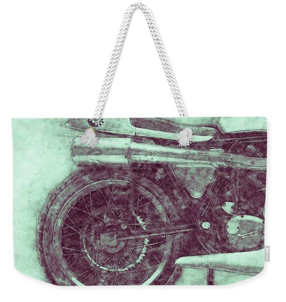 Norton Manx 3 - Norton Motorcycles - 1947 - Vintage Motorcycle Poster - Automotive Art Weekender Tote Bag