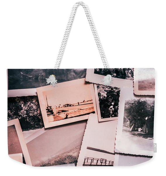 Nostalgic Photo Print Background Of A Collection Of Old Faded Sc Weekender Tote Bag