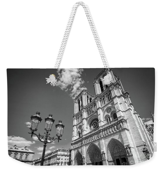 Notre Dame Black And White Weekender Tote Bag