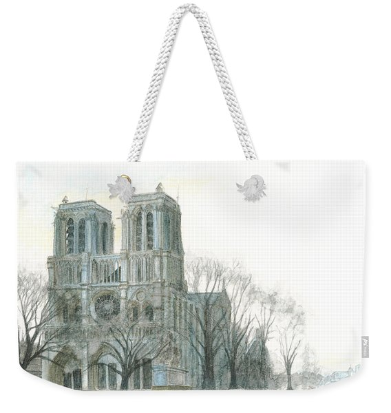 Weekender Tote Bag featuring the painting Notre Dame Cathedral In March by Dominic White