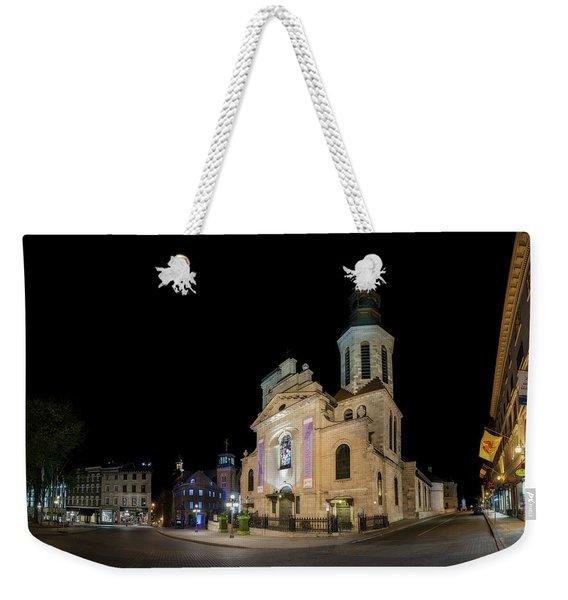 Notre-dame De Quebec Basilica-cathedral At Night Weekender Tote Bag