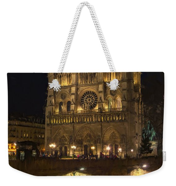 Notre Dame Night Painterly Weekender Tote Bag